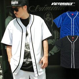 【L〜4XL】 VICTORIOUS 【 ベースボールシャツ 】 無地 スポーツコーデ 90S HIPHOP ロサンゼルス ヴィクトリアス LOSANGELES LA メンズ 大きいサイズ L LL 3L 4L 5L