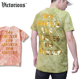 【M〜2XL】 VICTORIOUS 【 LA ウォッシュド 】 Tシャツ オールドイングリッシュ LOS ANGELES ウォッシュ加工 プリント ゴールド ロサンゼルス OLDENGLISH ビッグサイズ ラグジュアリー メンズ 大きいサイズ L LL 3L 4L
