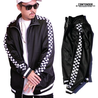 CONTENDER truck jacket check checker flag jersey extreme sports truck top Checkered Side Panel Trim Tricot Track Jacket men's big size big size L LL 2L 3L