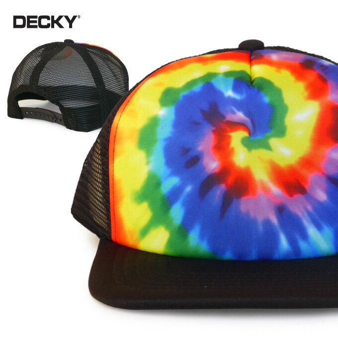 DECKY デッキー メッシュキャップ【タイダイ柄】帽子 トラッカー スナップバック アジャスタブル フリーサイズ ストレートキャップ レインボー メンズ レディース ユニセックス タイダイ染め TIE DYE SNAPBACK MESH CAP