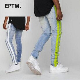 【34in 〜 42in】 EPTM エピトミ 【ペイント ライン スキニーパンツ】 デニム ラインパンツ ロングパンツ ジーンズ ヒップホップ ストリート系 スポーツMIX Painted Stripe Denim メンズ L LL 2L 3L