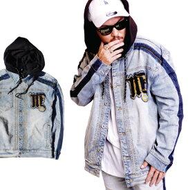 【M〜2XL】MAD BLUE デニムジャケット 【フード付き】【サイドライン】ワッペン ストレッチ インディゴ DENIM Gジャン ストリート メンズ 大きいサイズ L LL 2L 3L