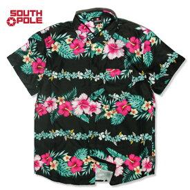 【S〜XL】 SOUTH POLE アロハシャツ 花柄 半袖 シャツ 総柄 プリント ハイビスカス トロピカル ハワイアン メンズ オールオーバー 大きいサイズ サウスポール ポリエステル