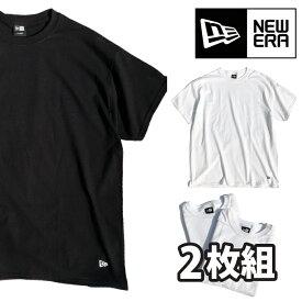 NEW ERA ニューエラ 半袖 【 2枚組 パックTシャツ 】 無地T フラッグロゴ ワンポイント ブラック ホワイト コットン クルーネック 2-Pack PLAIN Tee メンズ NEWERA 正規品 L LL XL 11229178 11229177
