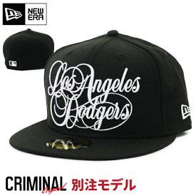 当店限定別注モデル ニューエラ キャップ 【LOS ANGELES DODGERS】 NEW ERA 59FIFTY CAP ニューエラキャップ ロサンゼルス ドジャース ブラック WESTCOAST LA 大きいサイズ メンズ 帽子 NEWERAストレートキャップ