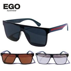 EGO EYEWEAR サングラス 【ワンレンズ】 エゴ アイウェア ウェリントン メンズ スクエア エゴ ミラー グレー ブルー ブラウン レンズ グッチカラー ストリート スポーティ モード メガネ 眼鏡 UVカット 紫外線99%カット UV400