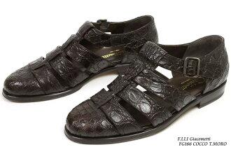 廓尔喀凉鞋暗棕色鳄鱼贾柯梅蒂 furaterri F.lli 贾柯梅蒂 FG166 科科 T.MORO)10P28oct13
