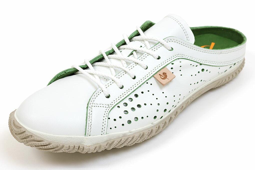 スピングルムーブ サボスニーカー 721 ホワイト×グリーン(SPINGLE MOVE SPM-721 White/Green)(スピングルムーヴ)