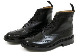 トリッカーズ カントリー ブローグブーツ ブラック ボックスカーフ リッジウェイソール (Tricker's m5634 Brogue Boots Black Box Calf)
