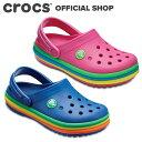 【クロックス公式】クロックバンド レインボー バンド クロッグ キッズ Crocband Rainbow Band Clog / crocs サンダル 定番 【OOL】
