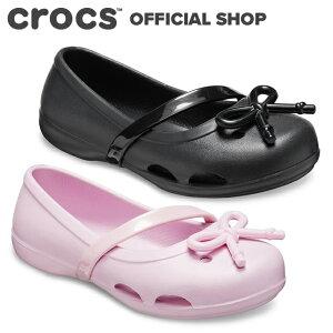 【クロックス公式】リナ ボウ チャーム フラット PS Lina Bow Charm Flat Ps / crocs キッズ パンプス フラットシューズ【OL】