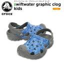 【26%OFF】クロックス(crocs) スウィフトウォーター グラフィック クロッグ キッズ(swiftwater graphic clog kids )キッズ/サンダル/シューズ/子供用[r][C