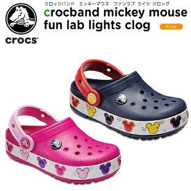 【20%OFF】クロックス(crocs) クロックバンド ミッキー ファン ラブ ライツ キッズ(kid's crocband mickey fun lab lights clog) キッズ/サンダル/シューズ/子供用[C/A]
