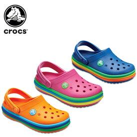 【30%OFF】クロックス(crocs) クロックバンド レインボー バンド クロッグ キッズ(crocband rainbow band clog kids) キッズ/サンダル/子供用[C/B]