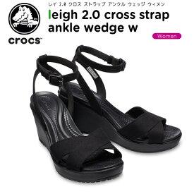 【23%OFF】クロックス(crocs) レイ 2.0 クロス ストラップ アンクル ウェッジ ウィメン(leigh 2.0 cross strap ankle wedge w)レディース/女性用/サンダル/ヒール/シューズ[C/B]