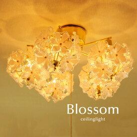 シーリングライト【Blossom/5灯】ゴールド キッチン ダイニング かわいい 簡易取り付け おしゃれ シンプル カフェ プルスイッチ 直付け 照明 デザイン