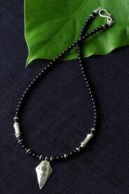 カレン族 カレンシルバー ビーズ ブラックオニキス ネックレス / メンズ レディース パワーストーン 黒