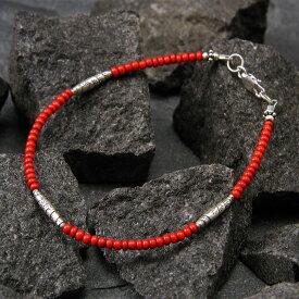 カレン 族 シルバー チベット系民族 アンティークビーズ 赤 ブレスレット アンクレット メンズ レディース