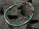 カレン族シルバーブレスレット/ターコイズ - 自然が産み出す神秘の色。空の象徴として別格視される。a06-13 [ メンズ レディース アンティークビーズ 水色 黒 12月 誕生石 カレンシルバー ]