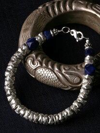 カレン 族 シルバー フェルメールの愛した青 ラピスラズリ 極太 ブレスレット アンクレット メンズ レディース