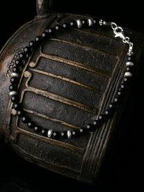 カレン族 カレンシルバー ビーズ ブラックオニキス ブレスレット アンクレット / メンズ レディース パワーストーン 黒 シンプル