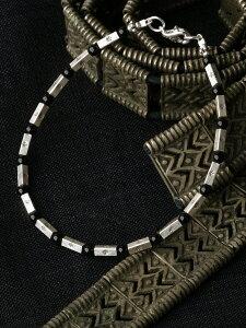 カレン 族 シルバー 漆黒の輝き ブラックオニキス シンプル ブレスレット アンクレット メンズ レディース