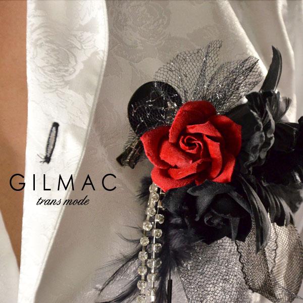 コサージュ ピン バラ 薔薇 フェザー 黒レースリボン ブローチ 日本製 結婚式 入学式 入園式 卒業式 メンズ mens(レッドブラック) k1705