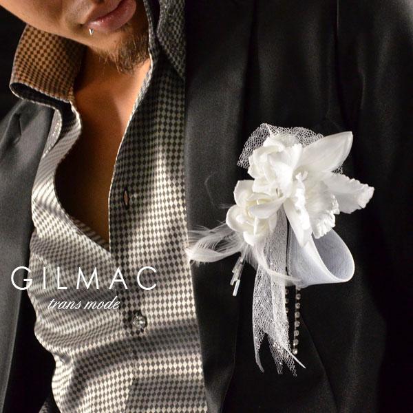 コサージュ ピン バラ 薔薇 フェザー 黒レースリボン ブローチ 日本製 結婚式 入学式 入園式 卒業式 メンズ mens(ホワイト白) k1705