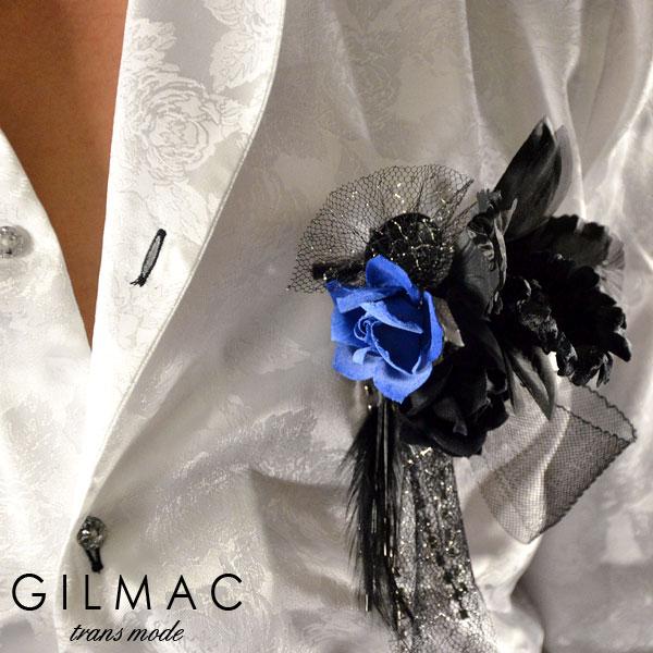 コサージュ ピン バラ 薔薇 フェザー 黒レースリボン ブローチ 日本製 結婚式 入学式 入園式 卒業式 メンズ mens(ブルーブラック) k1705