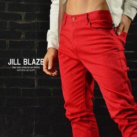 パンツ スリムフィット ストレッチ スキニー カラーパンツ メンズ mens(レッド赤) jb42142