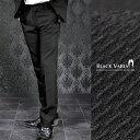 パンツ スラックス ドビー柄 織柄 ノータック 日本製 メンズ(ブラック黒) 933054 0601楽天カード分割