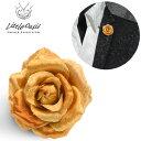 アクセサリー 薔薇 バラ 造花 光沢 ブローチ ラペルピン ドレス ブートニエール メンズ mens(ゴールド金オレンジ橙) 1…