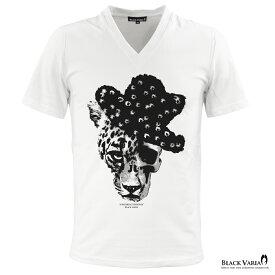 Tシャツ スカル ドクロ 豹 ヒョウ柄 ハット Vネック 半袖Tシャツ メンズ スリム 細身 mens(ホワイト白) zkt001