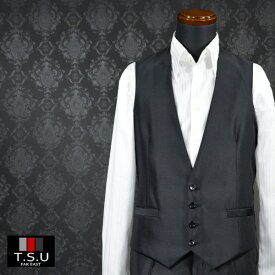 ジレ ベスト スーツベスト 4ボタン 日本製 光沢 フォーマル ビジネス メンズ mens(ブラック黒) 937047