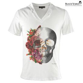 Tシャツ Vネック 半袖 バラ バラ柄 薔薇 薔薇柄 スカル ドクロ Tシャツ メンズ スリム 細身 mens(ホワイト白レッド赤) zkk023