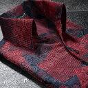 シャツ スキッパー 薔薇 バラ柄 花柄 幾何学模様 ドレスシャツ 日本製 結婚式 メンズ(レッドネイビー赤) 935119 0601…