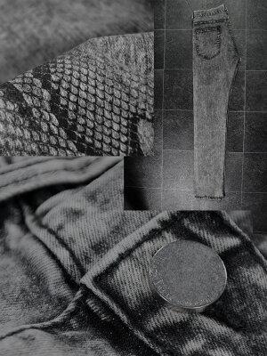 蛇スネークパイソン柄ストレッチケミカルスリムデニムメンズ
