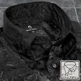 サテンシャツ ドレスシャツ ドゥエボットーニ 花柄 薔薇 ジャガード スナップダウン 無地 パーティー メンズ mens(ブラック黒) 161222