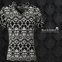 Tシャツ 幾何学 ネイティブ柄 モノトーン Vネック 半袖Tシャツ メンズ(ブラック黒ホワイト白) 163207 0601楽天カード分割