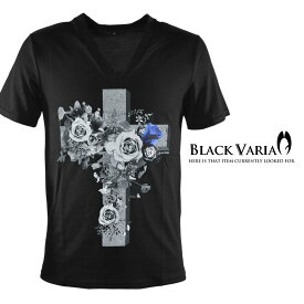 Tシャツ クロス 十字架 バラ 薔薇 花 Vネック 半袖Tシャツ メンズ mens(ブラック) zkk028