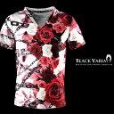 Tシャツ 花柄 バラ柄 薔薇 チェーン Vネック 半袖Tシャツ メンズ(レッド赤) bv03