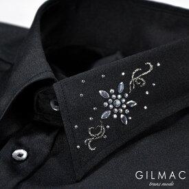 サテンシャツ 無地 日本製 レギュラーカラー メンズ 襟 花 ラインストーン 結婚式 ドレスシャツ mens(ブラック黒) 36740