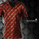 Tシャツ 半袖 千鳥 チドリ柄 箔 Vネック メンズ メタリック スパンコール カットソー(レッド赤ブラック黒) 163908