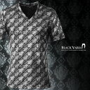 Tシャツ 半袖 千鳥 チドリ柄 箔 Vネック メンズ メタリック スパンコール カットソー(シルバー銀ブラック黒) 163908