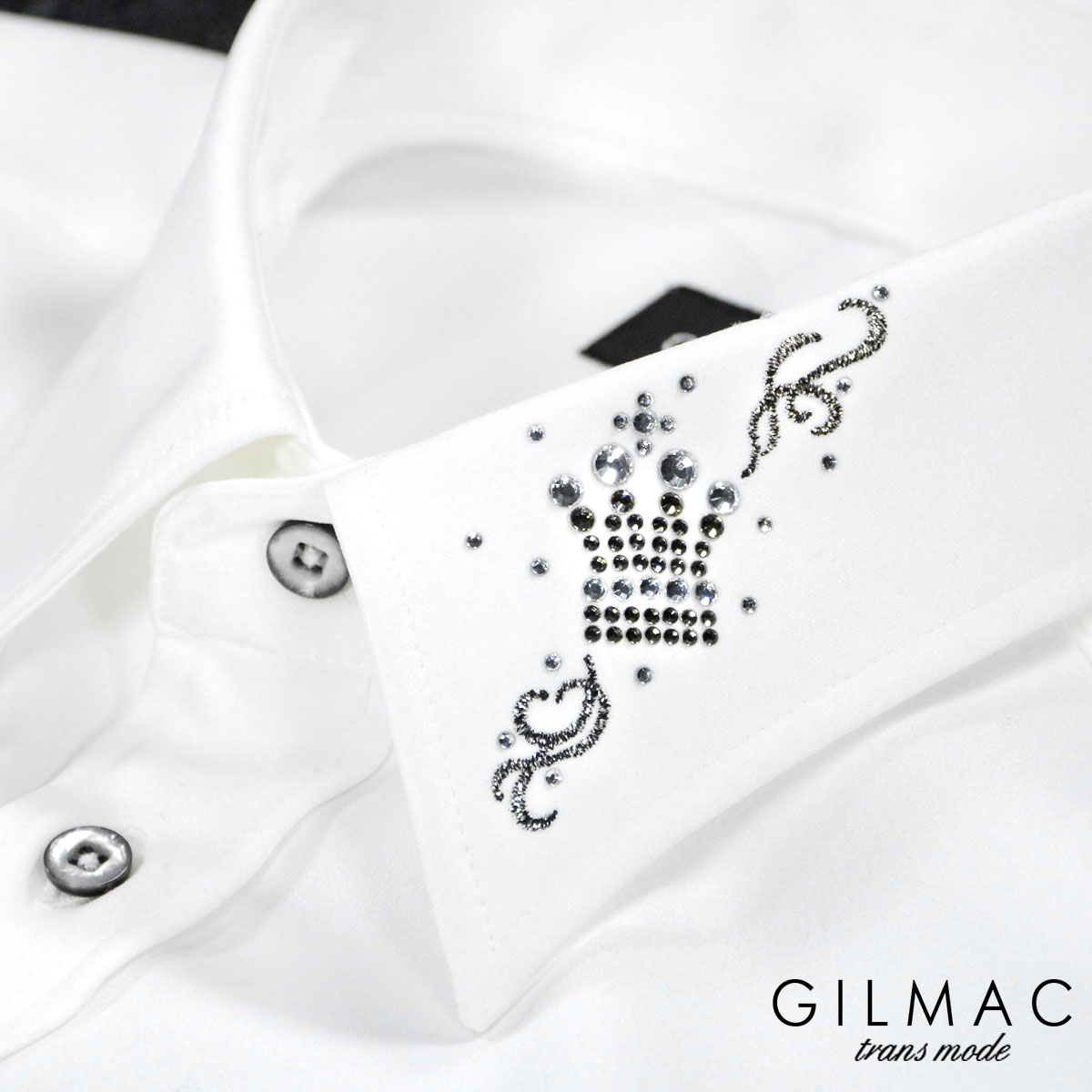 サテンシャツ 無地 日本製 レギュラーカラー メンズ 襟 クラウン 王冠 ラインストーン 結婚式 ドレスシャツ(ホワイト白) 36741