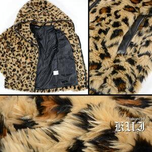 ファージャケットヒョウ豹柄メンズフェイクファージップアップパーカージャケットブルゾン