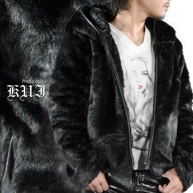 ファージャケット 無地 シンプル フェイクファー ジップアップ パーカー ジャケット ブルゾン メンズ mens(ブラック黒) 49104