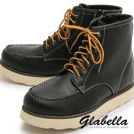 ブーツ シークレットブーツ レースアップ サイドジップ 身長アップ メンズ ワークブーツ 靴 シューズ mens(ブラック黒) glbb055