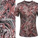 Tシャツ ペイズリー柄 Vネック 半袖 メンズ 日本製 細身 総柄 半袖Tシャツ(レッド赤ブラック黒) 163916