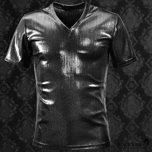 Tシャツランダムテレコラメメンズ日本製Vネック光沢スリムシンプル半袖Tシャツmens